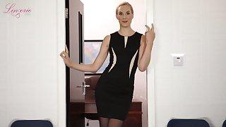 Leggy tall secretary in sexy lingerie Ariel Anderssen shows striptease in the office