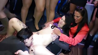 Amateur party eurobabes lick pussy in a club