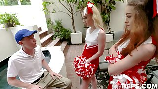 Dick crazy cheerleaders tag team their nerdy group mate