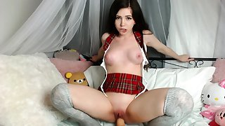 Blonde amateur gives webcam portray with toys