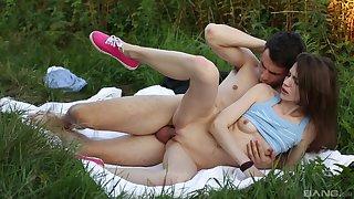 Cute girl enjoys outdoor orgasms with her boyfriend