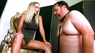 Very Sexy Blonde Woman Gives Fat Chastity Slave 3.5 Months to Get Unlocked
