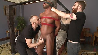 Black male gets dominated by two white barebacks