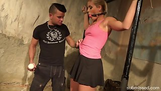 Gagged and tied up blonde whore Sweet Cat Sandy deserves kinky masturbation