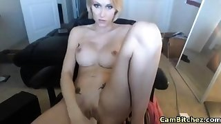 lovely blonde girl masturbates with dildos on webcam