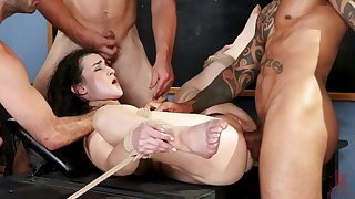 BDMS gangbang with double penetration for brunette slut Lyra Lockhart