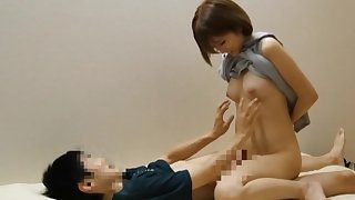 Excellent Japanese porn with a naked amateur with perky tits