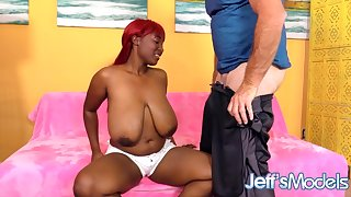 Chubby Black Babe with Natural Mega Milkers Marie Leone Takes White Cock