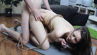 Sub girl tied up, spanking and hard fucked
