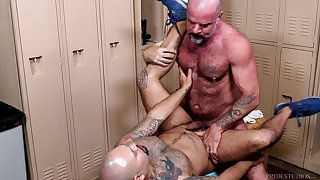 Rough sex down at the lockers for these gay men