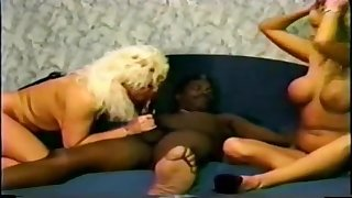 Retro interracial sex video with horny MILFs