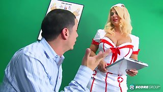 Busty nurse, Kelly Christiansen likes to fuck her patients, while no one is watching her