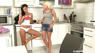 Erotic sex between lesbian friends Keira and Vanessa T in the kitchen
