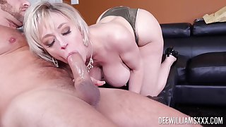 Busty mature soaks younger dick in both her tiny holes