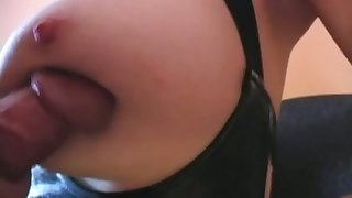 Lewd amateur bitchie housewife lets my buddy to cum onto her saggers