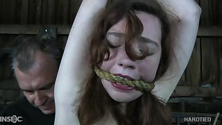 Gagged submissive natural whore Maggie Mead deserves some spanking