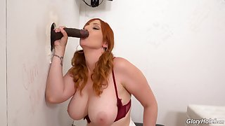 Interracial glory hole action for busty redhead Lauren Phillips