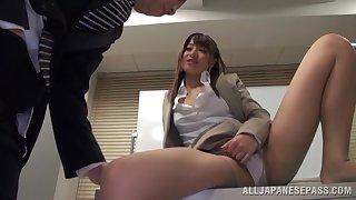 Skinny Japanese secretary Ayu Sakurai moans during a quickie