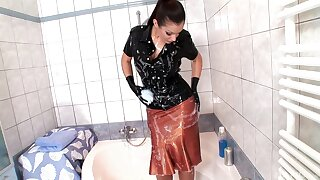 Solo wife Aria Giovanni enjoys teasing with her leather outfit