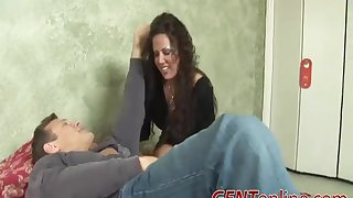 Nasty brunette Angelica Lauren chokes exposed to a dick before riding it