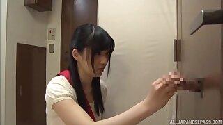 Dashing glory hole shows Japanese teen working her magic