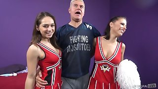 Two nasty cheerleaders Adriana Chechik and her Gf are fucked and jizzed unconnected with yoke toff