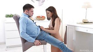 Brunette teen in shorts Klara rides her boyfriend on a chair