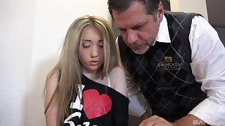 Blonde teen slut Vladlena gets her mouth rim with cum