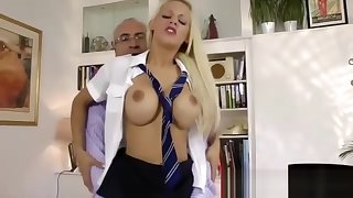 Lucky older man fucks blonde babe about schoolgirl costume