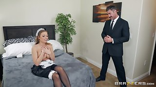 Blonde busty maid Britney Amber cum sprayed on her shaved pussy
