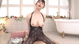 After relaxing massage Rinne Touka pleases hard and fat client's cock