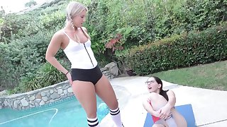 Teen vixens Nickey Huntsman and Candice Dare drain a hard dick