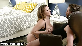 Giant breasted beauty Natasha Nice lets dude polish her slit from behind