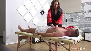 Young masseuse Stacy Cruz rides a big dick of her regular client