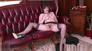 Big natural tits brunette masturbates in retro nylons garter