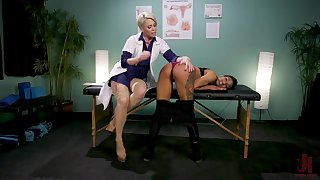 Blonde Helena Locke ties up and abuses ebony babe Nikki Darling