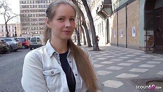 Bony German teenage with blondie hair, Kinuski enjoys to get down on her knees and inhale schlong