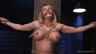 Before her friend destroys her tiny pussy Cali Carter blows his cock